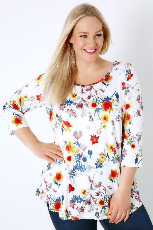 White & Multi Floral Print Super Soft Stretch Jersey Top