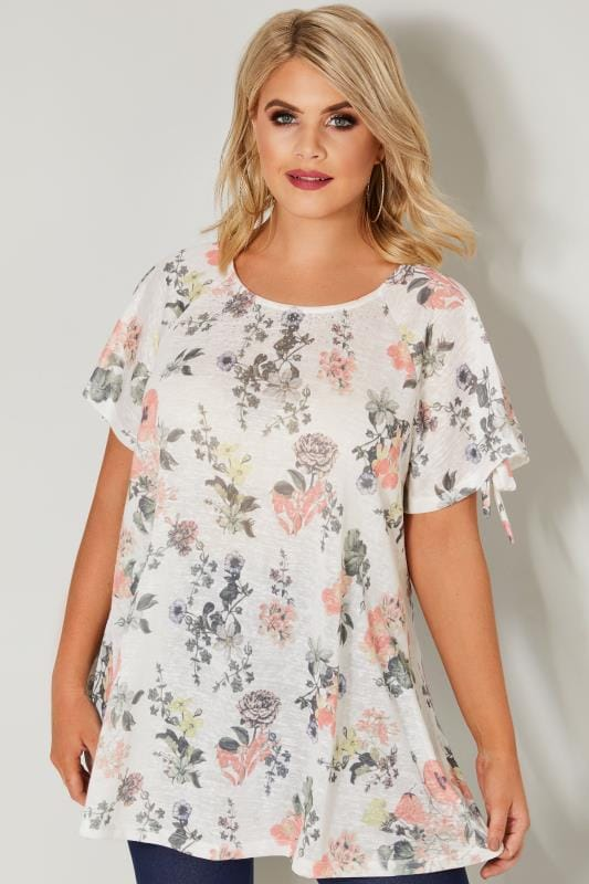 White & Multi Floral Print Top With Cold Shoulder Cut Outs & Diamante Details