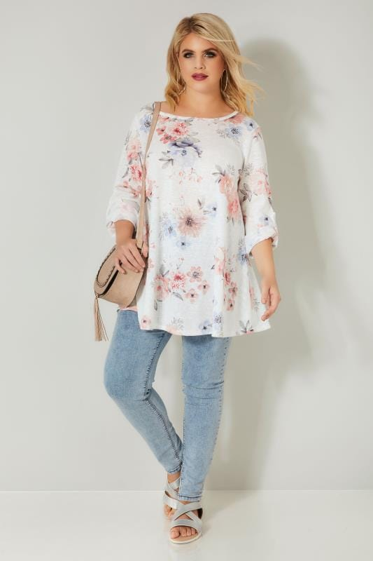 White & Multi Floral Roll Sleeve Top