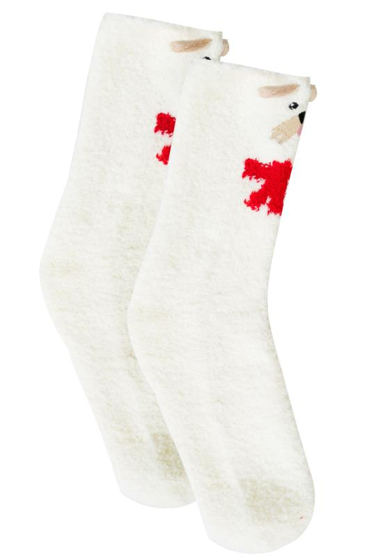 White & Multi Scotty Dog Cosy Socks