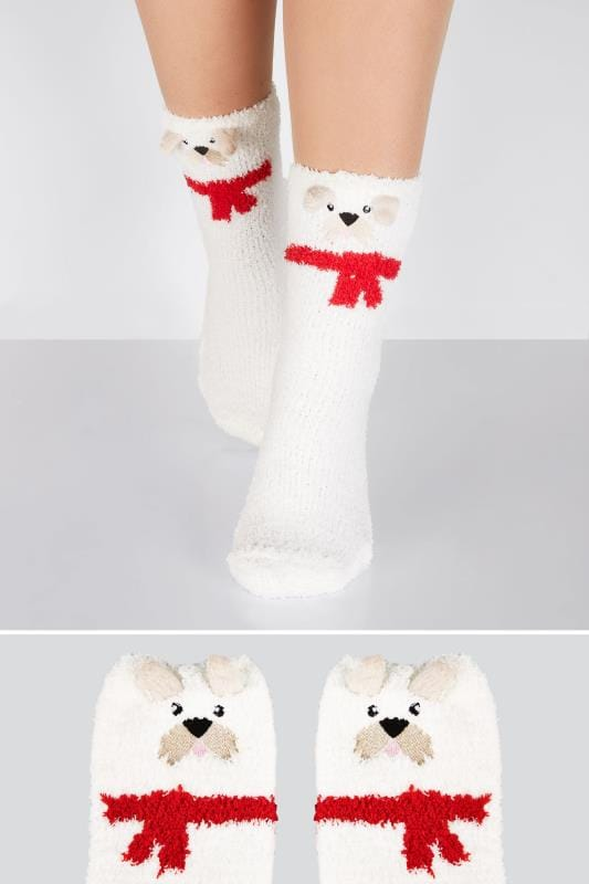 Plus Size Socks White & Multi Scotty Dog Cosy Socks