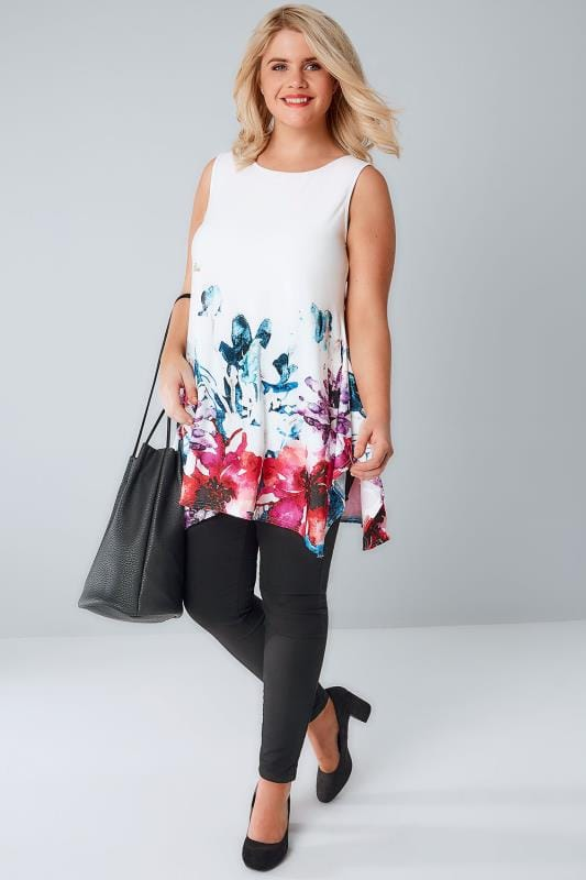 White & Multi Watercolour Floral Print Slinky Stretch Sleeveless Top With Cut Out Back