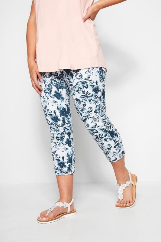 Plus Size Jeggings White & Navy Blue Floral Print Cropped JENNY Jeggings