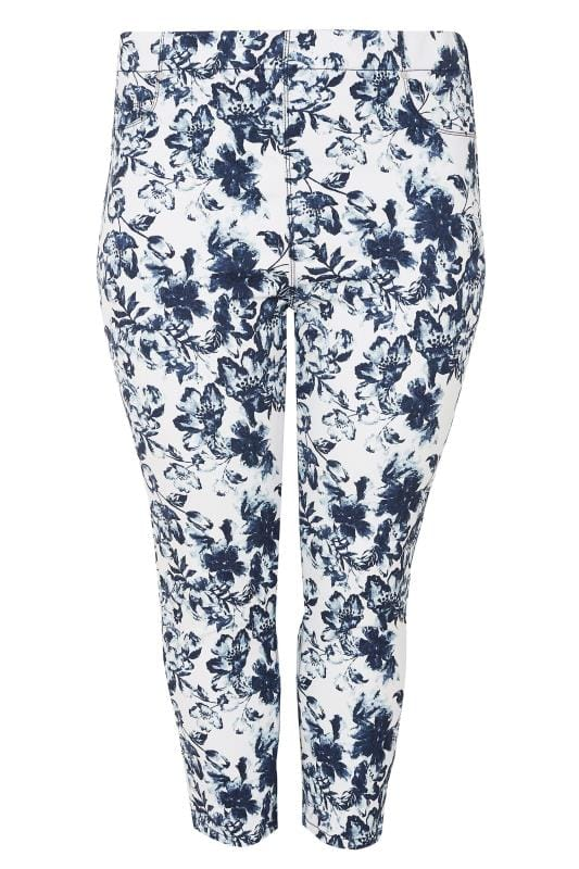 Plus Size Jeggings White & Navy Blue Floral Print Cropped Jeggings