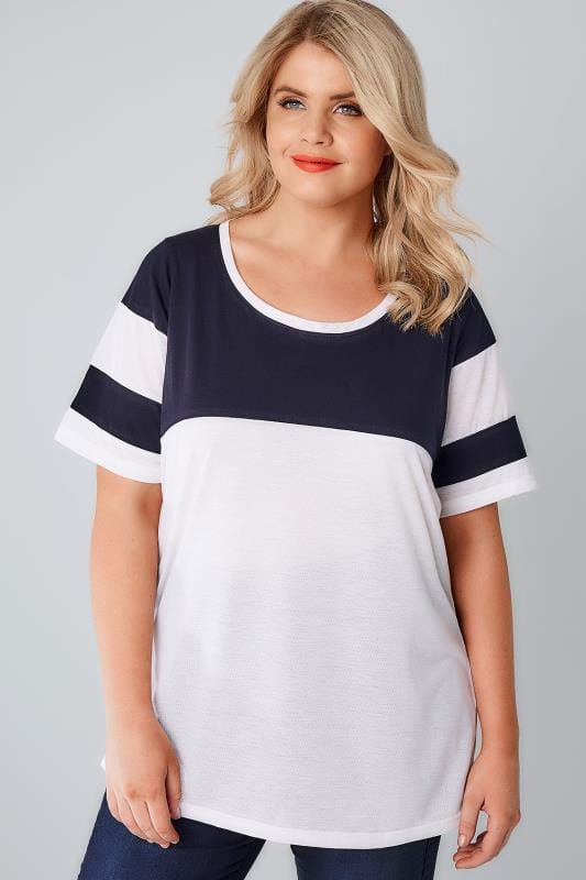 White & Navy Colour Block Baseball T-Shirt