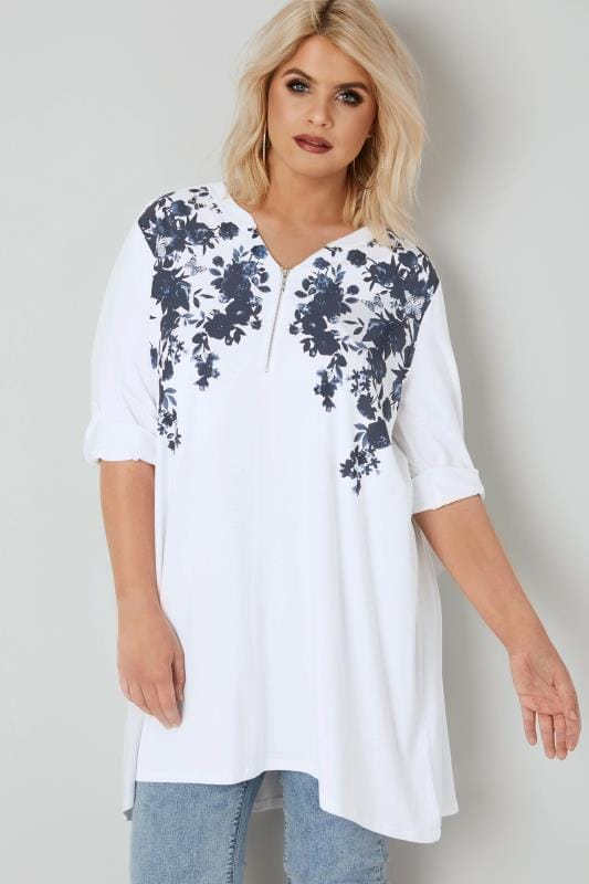 Plus Size Jersey Tops White & Navy Floral Longline Top With Zip Front