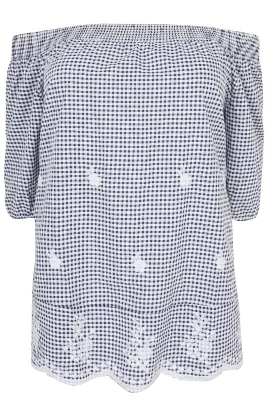 White & Navy Gingham Bardot Top With Floral Embroidery