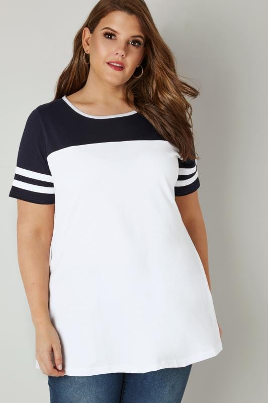 Plus Size Jersey Tops White & Navy Jersey Colour Block Top With Short Sleeves