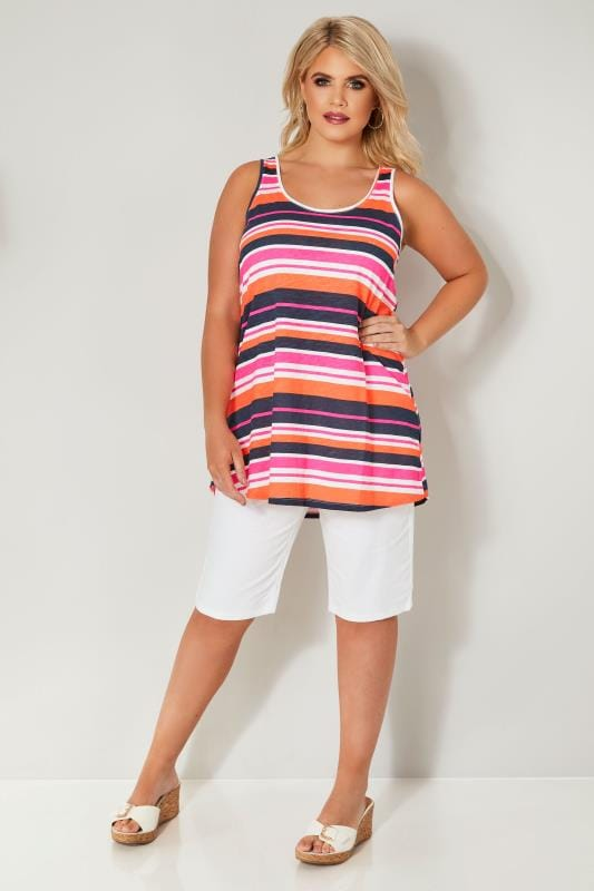 Plus Size Vests & Camis White, Navy & Neon Stripe Vest Top