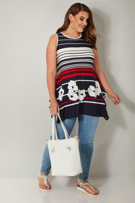 White, Navy & Red Sleeveless Stripe Swing Top With Hanky Hem