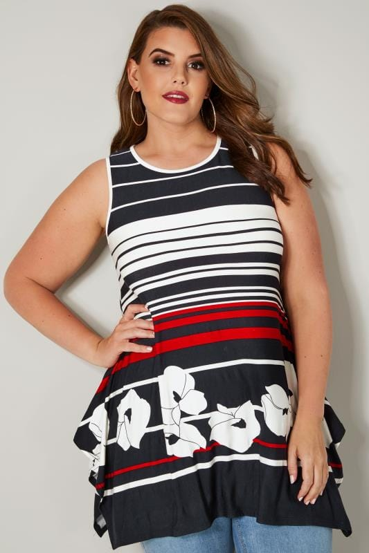 Plus Size Jersey Tops White, Navy & Red Sleeveless Stripe Swing Top With Hanky Hem