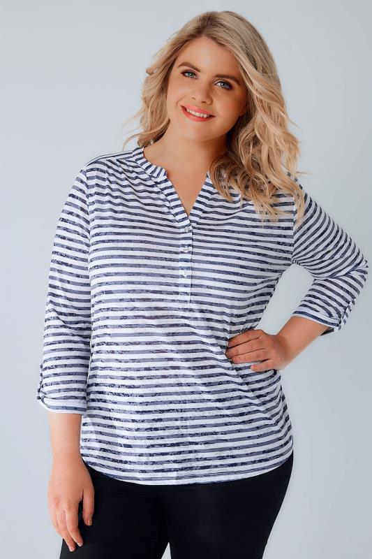 White & Navy Stripe Burnout Jersey Top With Button Detail