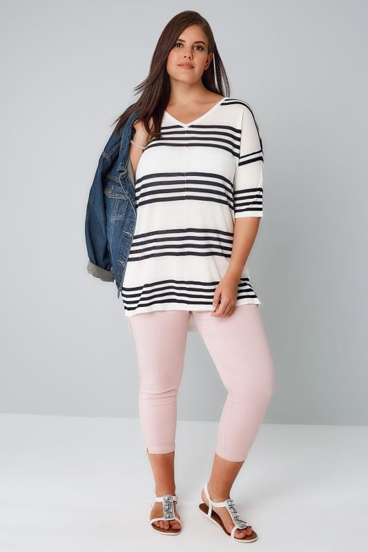 White & Navy Stripe Fine Knit Jumper With Drop Shoulder Sleeves