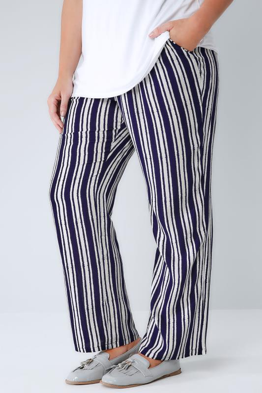 White & Navy Stripe Palazzo Trousers With Elasticated Waist