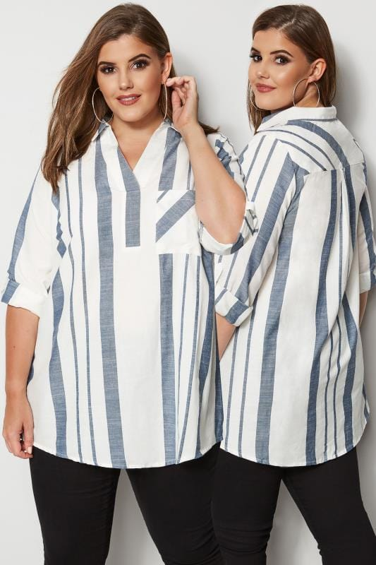 Tallas Grandes Blusas y camisas White & Navy Striped Shirt
