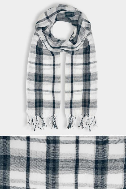 White & Navy Wide Check Scarf