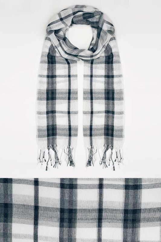 Plus Size Scarves White & Navy Wide Check Scarf