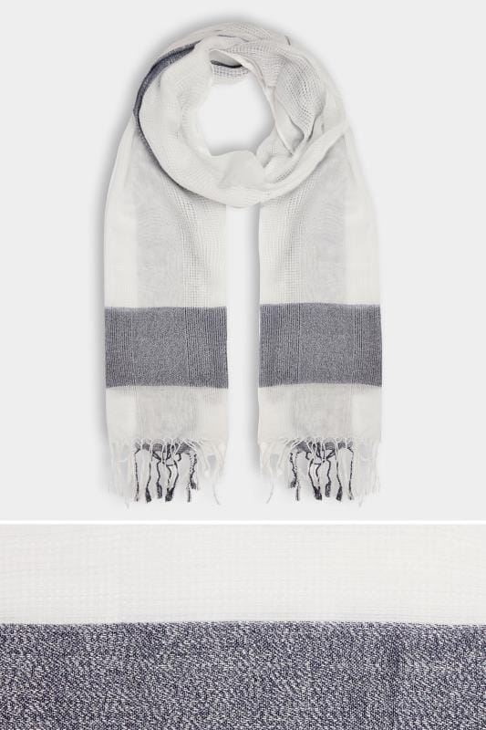 White & Navy Wide Check Scarf With Metallic Thread