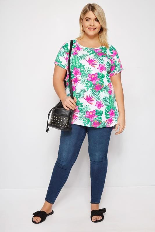 White & Neon Pink Tropical Mock Pocket T-Shirt