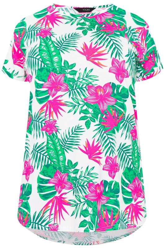 3ed11f83545 Plus Size White   Neon Pink Tropical Mock Pocket T-Shirt