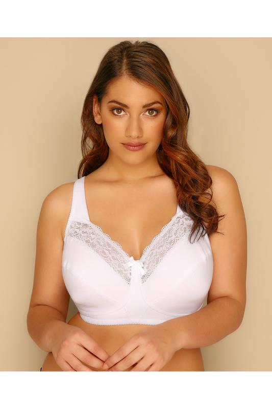 Plus Size Wireless Bras White Non-Wired Bra With Lace Inserts