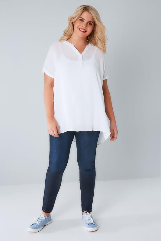 White Oversized Crinkled Shirt With Curved Hem