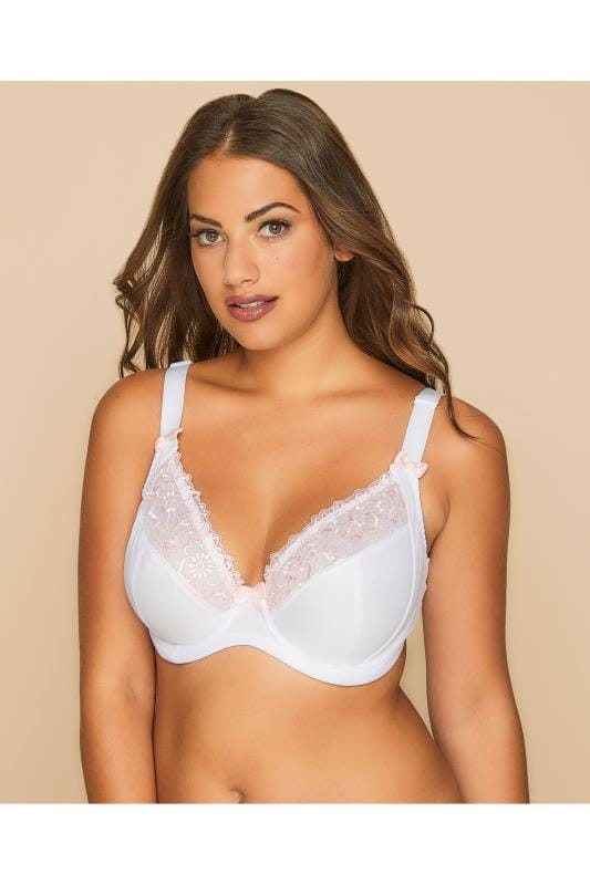 White & Pale Pink Floral Embrodiered Underwired Bra