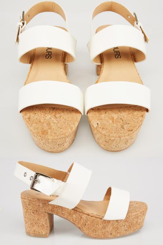 Wide Fit Wedges White Patent Platform Cork Sandal In EEE Fit 056442