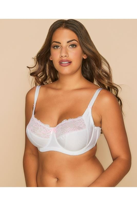 White & Pink Floral And Polka Dot Embroidered Underwired Bra