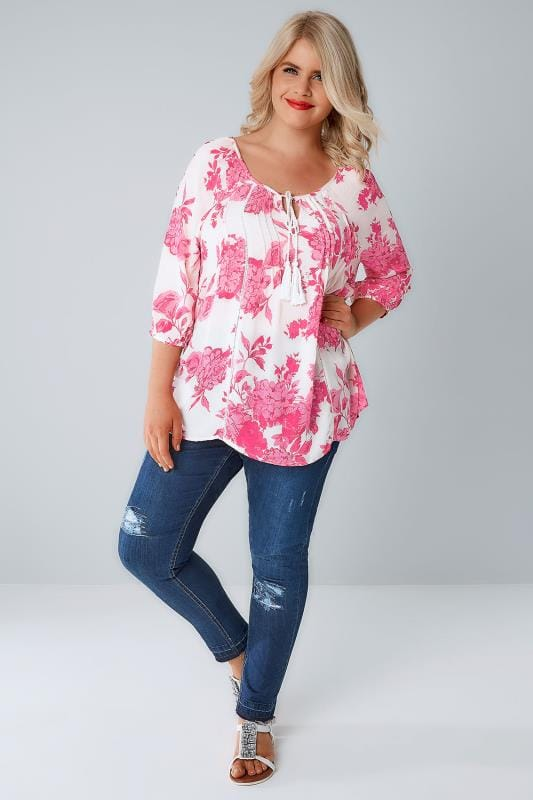 White & Pink Floral Blouse With Sequin Detail