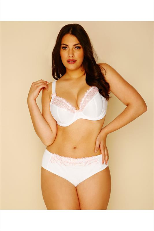 White & Pink Floral Embroidered Briefs