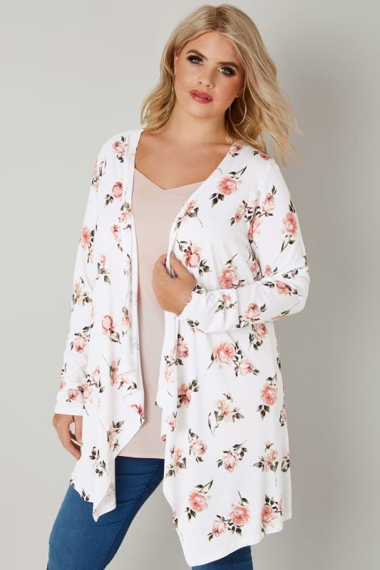 Plus Size Cardigans White & Pink Floral Print Longline Waterfall Cardigan