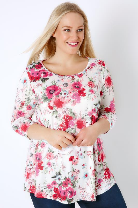 White & Pink Floral Print Super Soft Stretch Jersey Top