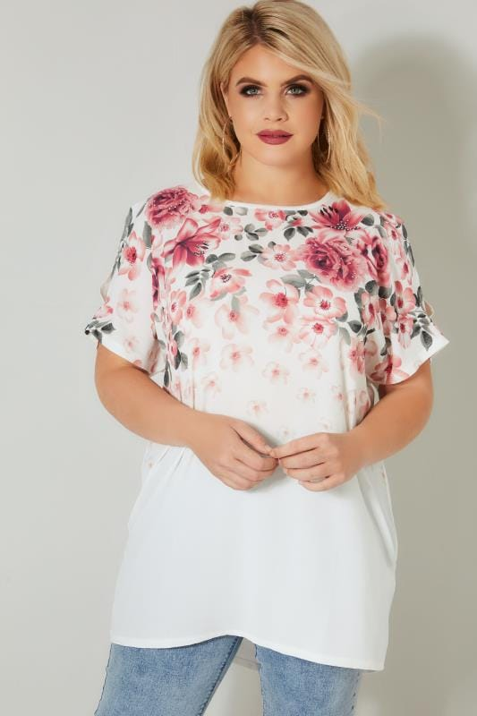 Plus Size Day Tops White & Pink Floral Top With Stud Details