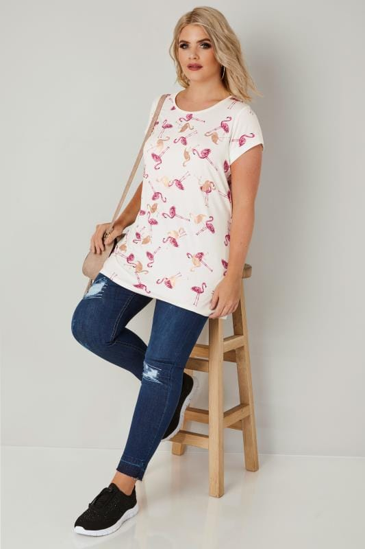 White & Pink Foil Flamingo Print T-Shirt