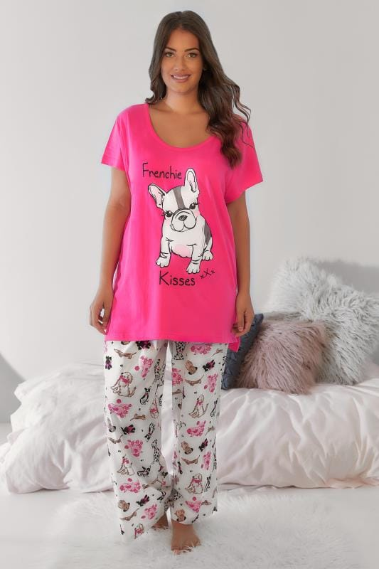 Plus Size Pyjamas White & Pink French Dog Print Pyjama Top & Bottoms