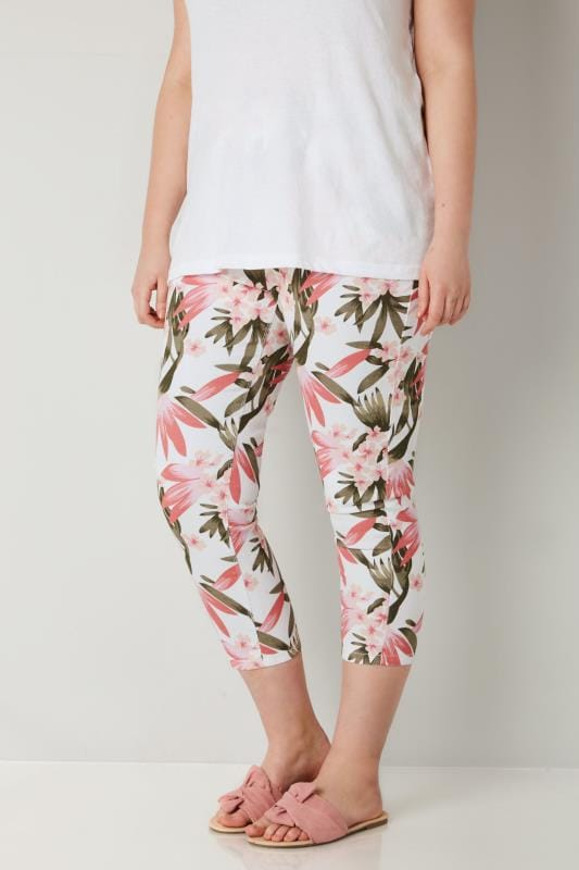 Plus Size Cropped Jeans White, Pink & Khaki Floral Print Cropped JENNY Jeggings