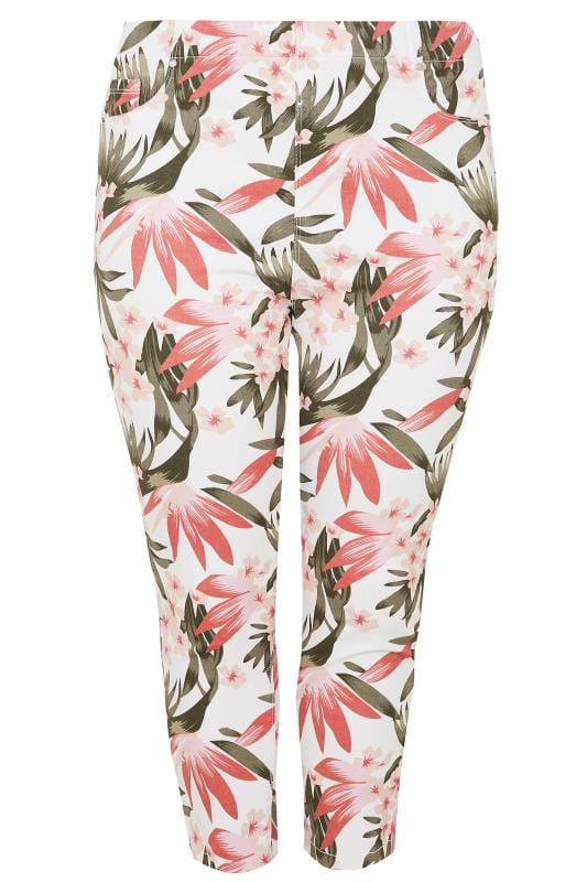 Plus Size Cropped Jeans White, Pink & Khaki Floral Print Cropped Jeggings