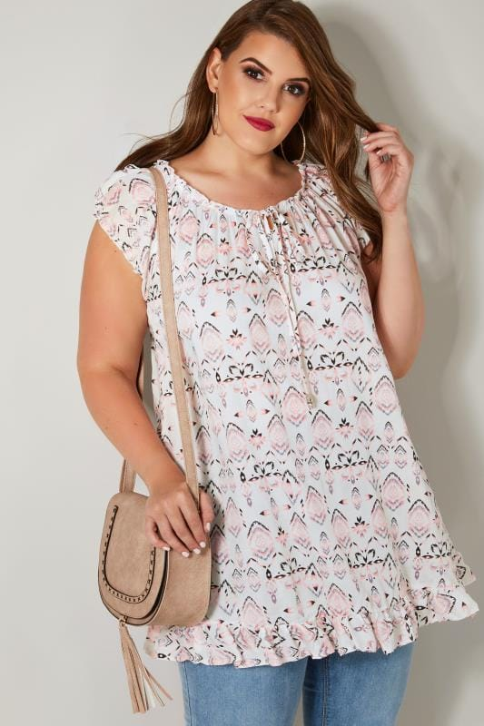 White & Pink Printed Gypsy Top With Frill Hem & Tie Neck