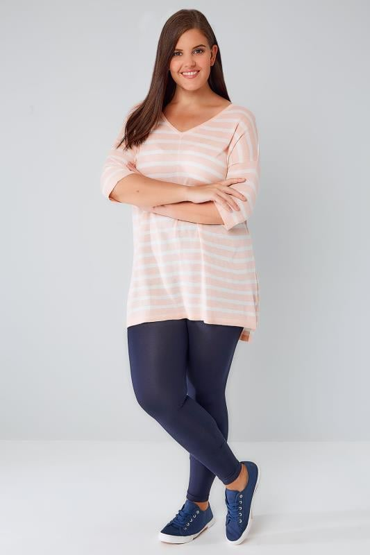 White & Pink Stripe Fine Knit Jumper With Drop Shoulder Sleeves