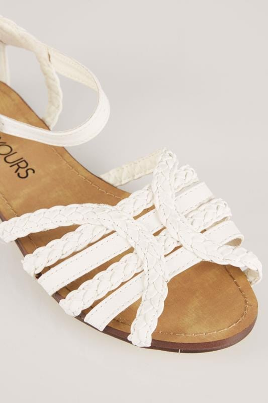 White Plaited Strap Sandal In EEE Fit