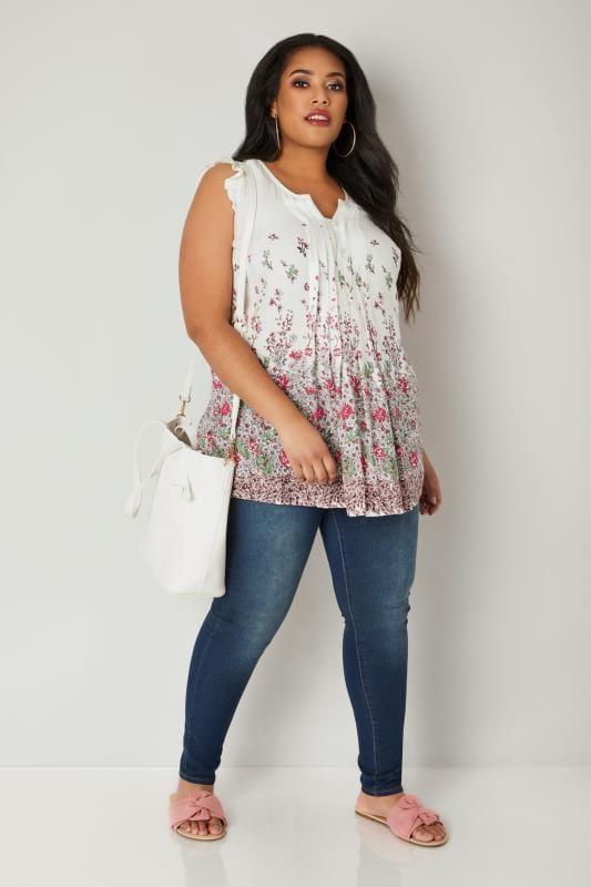 White Floral Pintuck Top