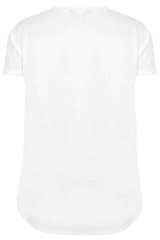 White Pocket T-Shirt With Curved Hem, Plus size 16 to 36