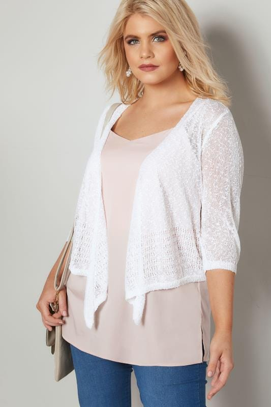 Plus Size Shrugs White Popcorn Crochet Cropped Shrug