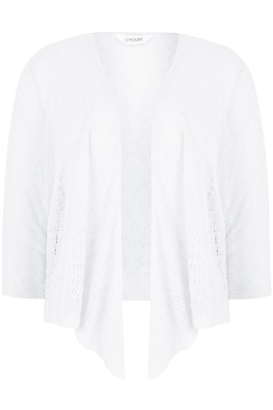 White Popcorn Crochet Cropped Shrug, Plus size 16 to 36
