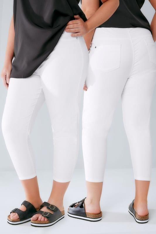 White Pull On Stretch Cropped JENNY Jeggings