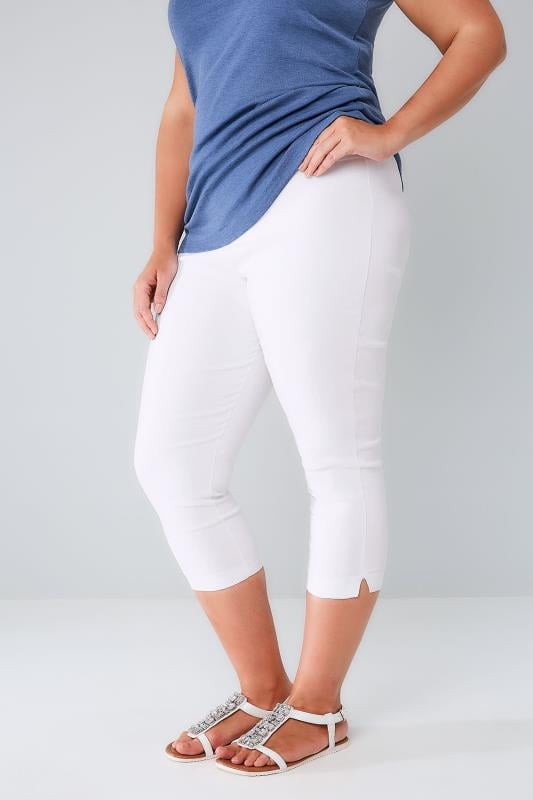 Plus Size Cropped Trousers White Pull On Stretch Cropped Trousers
