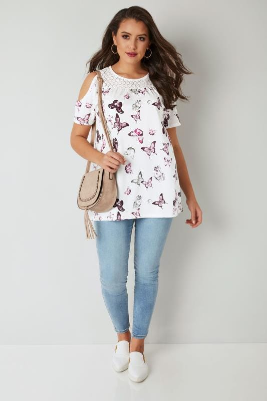White & Purple Butterfly Print Cold Shoulder Top With Lace Yoke