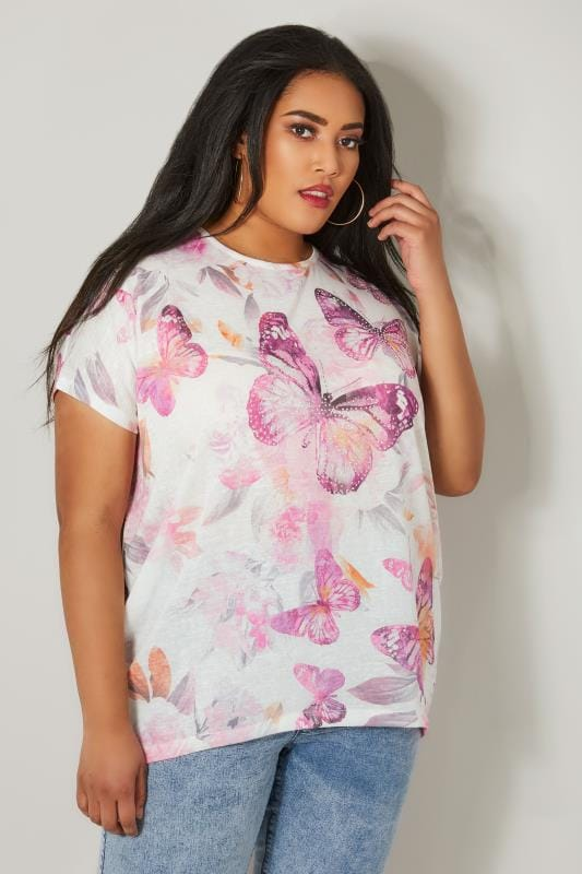 White & Purple Butterfly Print Top With Grown On Sleeves