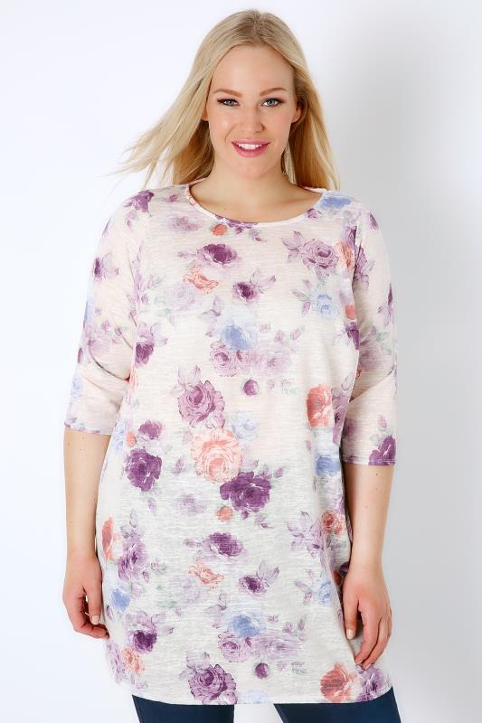 White & Purple Floral Rose Print Textured Jersey Longline Top